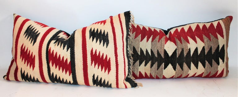 Adirondack Collection of Three Navajo Saddle Blanket Bolster Pillows For Sale