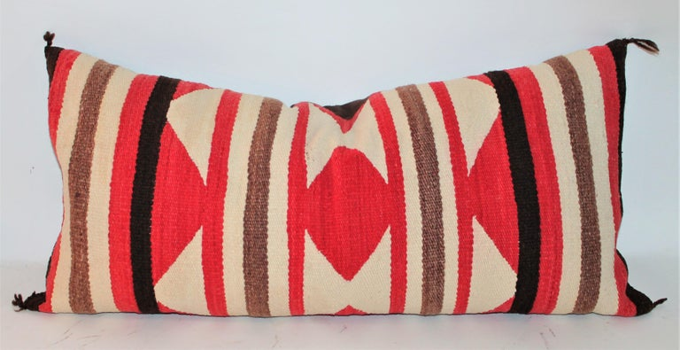 Hand-Woven Collection of Three Navajo Saddle Blanket Bolster Pillows For Sale