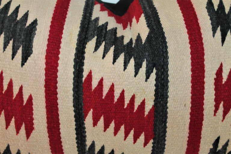 Wool Collection of Three Navajo Saddle Blanket Bolster Pillows For Sale