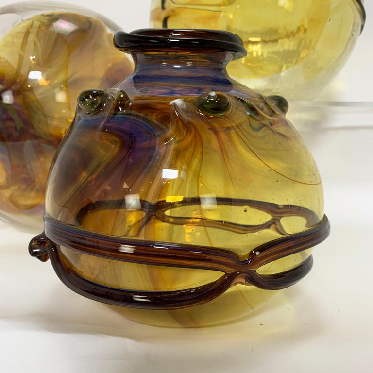 Collection of Three Peter Bramhall Hand Blown Glass Art Sculpture Orb Vases 3