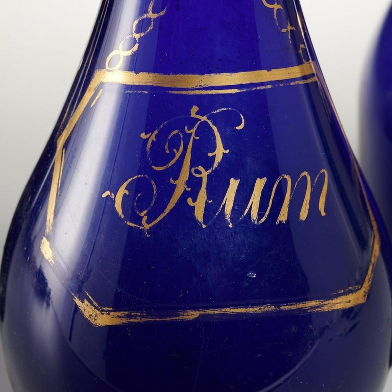 George III Collection of Three Rum and Brandy Early Cobalt Blue Bottles For Sale