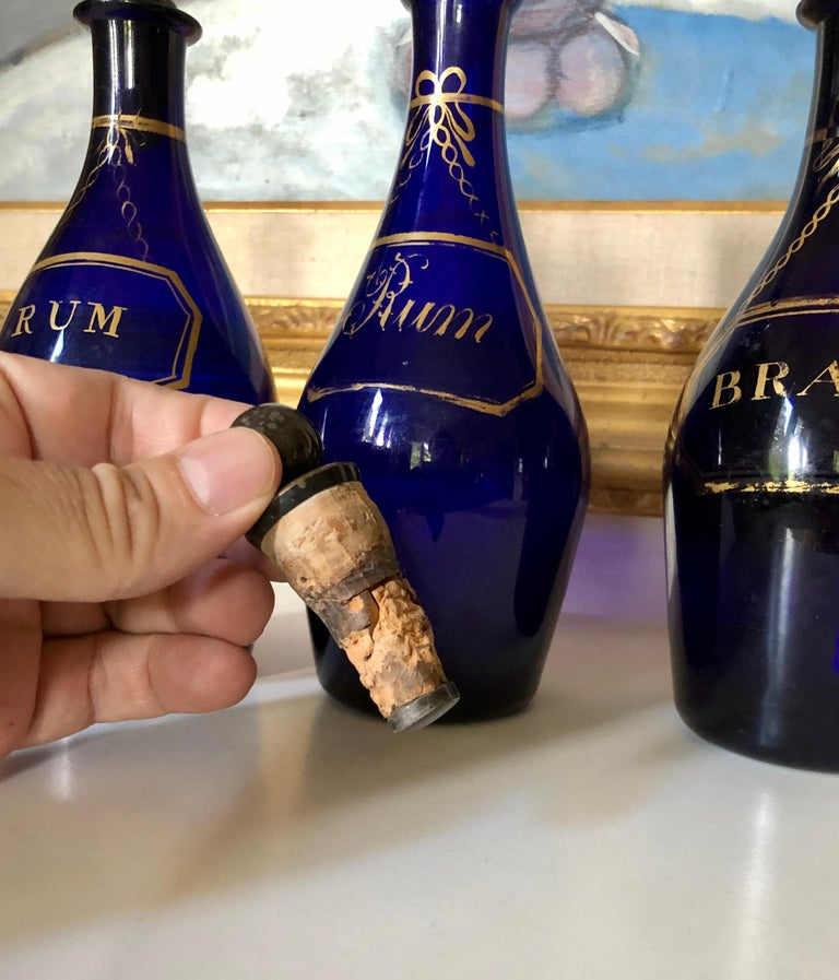Collection of Three Rum and Brandy Early Cobalt Blue Bottles In Good Condition For Sale In Boulder, CO