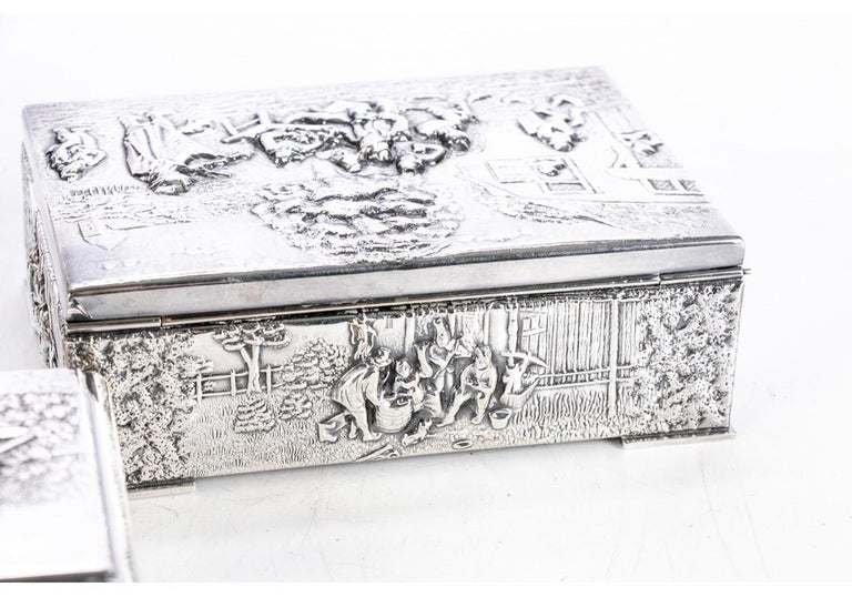 Collection of Three Silver Plate Cigarette Boxes Decorated with Genre Scenes For Sale 6