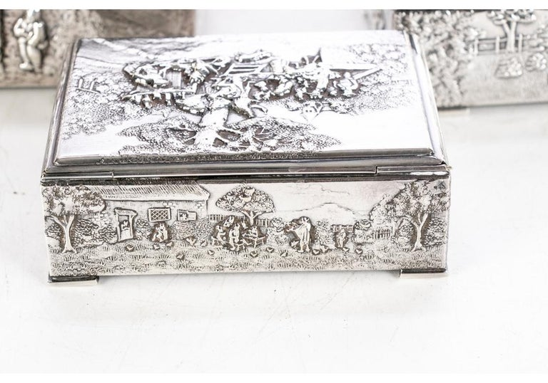 Collection of Three Silver Plate Cigarette Boxes Decorated with Genre Scenes For Sale 7