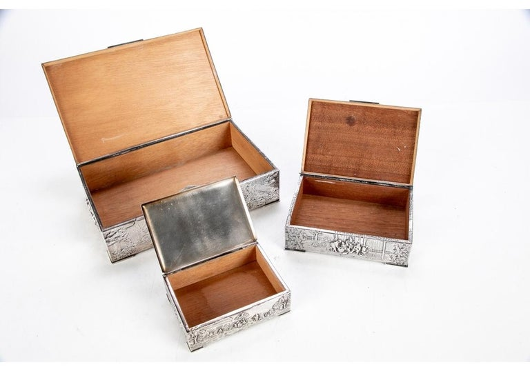 Collection of Three Silver Plate Cigarette Boxes Decorated with Genre Scenes In Good Condition For Sale In Bridgeport, CT