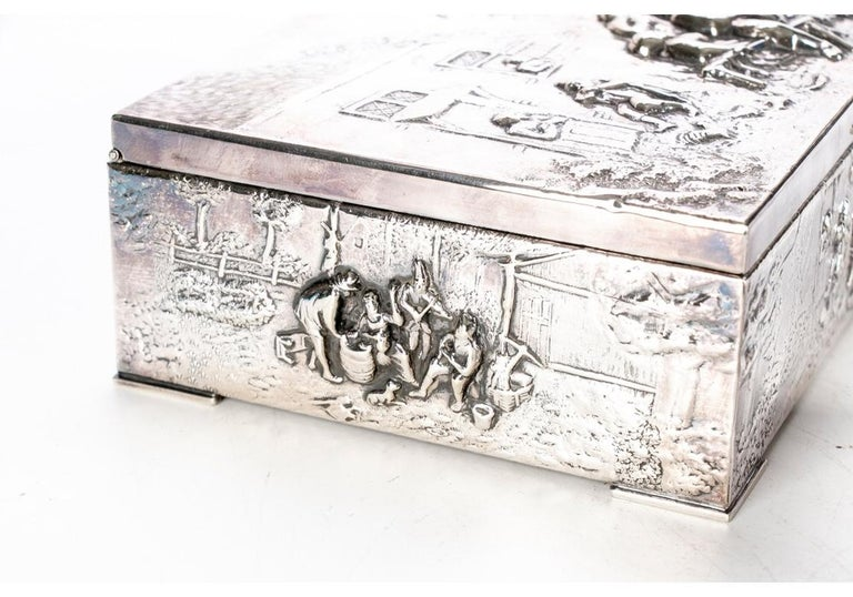 20th Century Collection of Three Silver Plate Cigarette Boxes Decorated with Genre Scenes For Sale