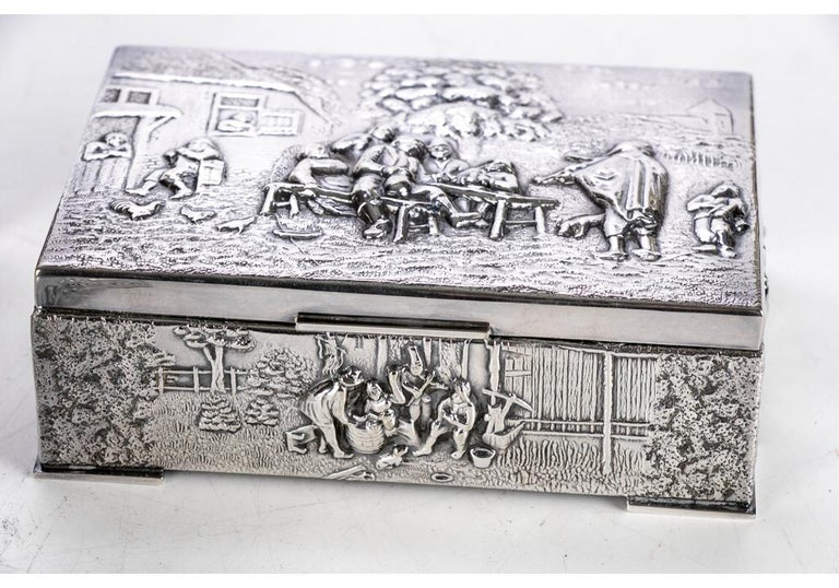 Collection of Three Silver Plate Cigarette Boxes Decorated with Genre Scenes For Sale 1