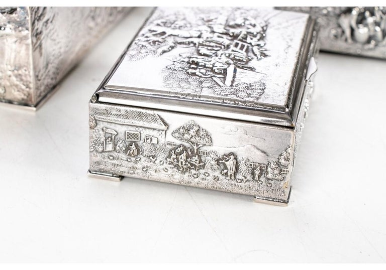 Collection of Three Silver Plate Cigarette Boxes Decorated with Genre Scenes For Sale 2