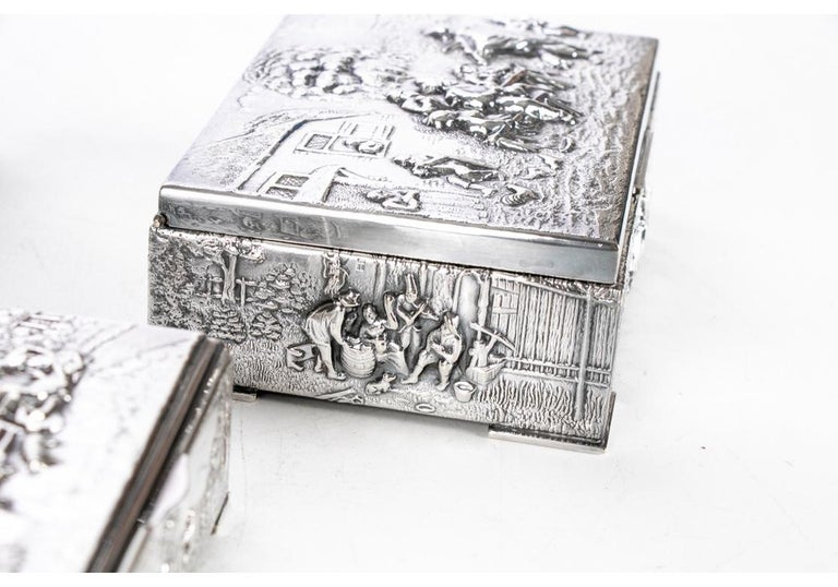 Collection of Three Silver Plate Cigarette Boxes Decorated with Genre Scenes For Sale 3