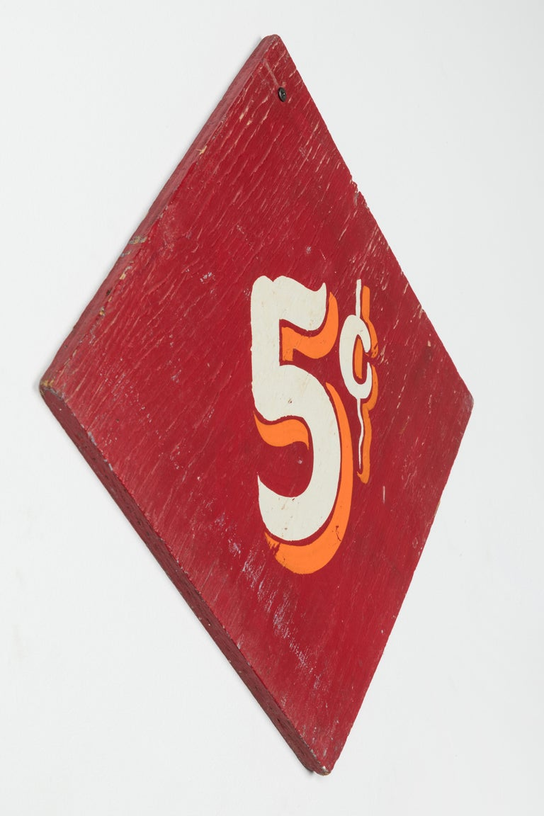 Mid-20th Century Collection of Three Vintage Carnival Midway Nickel Ride Red Signs For Sale