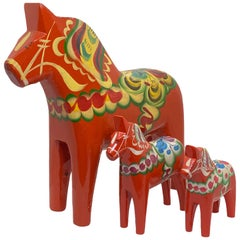 Collection of Three Vintage Swedish Dala Horses by Nils Olsson, Sweden Folk Art