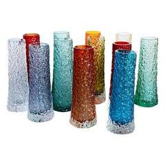 Collection of Twelve Textured Chimney Bark Vases by Geoffrey Baxter, circa 1960