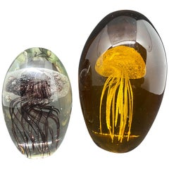 Collection of Two Jelly Fish Murano Italian Art Glass Aquarium Paperweights