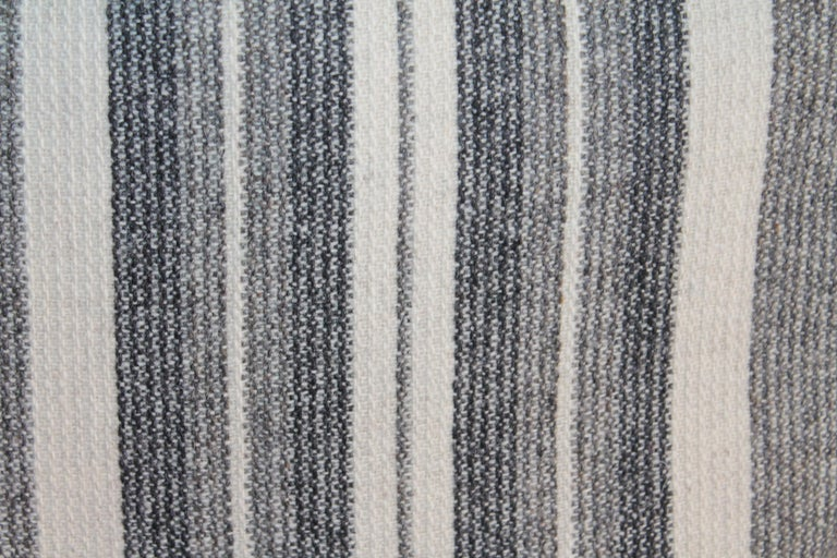 American Collection of Two Pairs of Grey Stripe Woven Pillows For Sale
