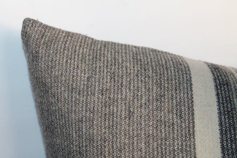 Hand-Crafted Collection of Two Pairs of Grey Stripe Woven Pillows For Sale
