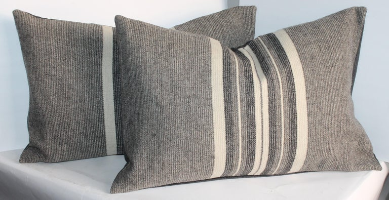 20th Century Collection of Two Pairs of Grey Stripe Woven Pillows For Sale