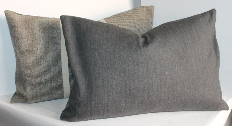 Cotton Collection of Two Pairs of Grey Stripe Woven Pillows For Sale