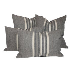Collection of Two Pairs of Grey Stripe Woven Pillows