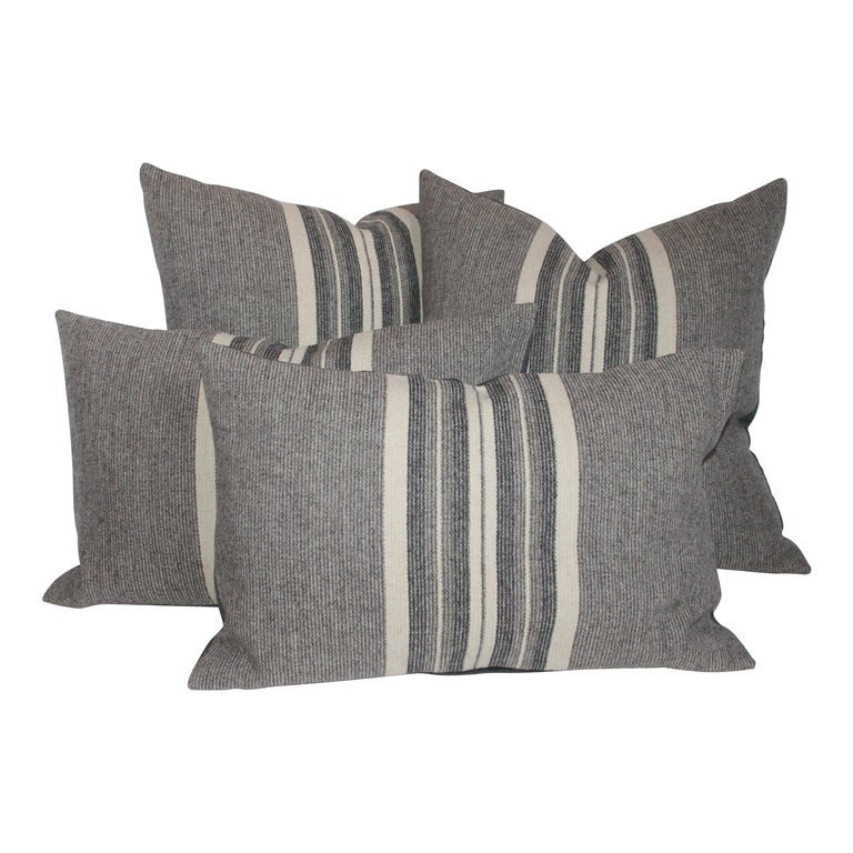 Collection of Two Pairs of Grey Stripe Woven Pillows For Sale