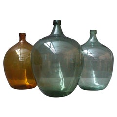 Collection of Very Large Antique French Demijons Hand Blown Wine Bottles