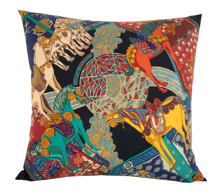 Collection of Vintage Hermes Silk Pillows by Various Designers For Sale 9