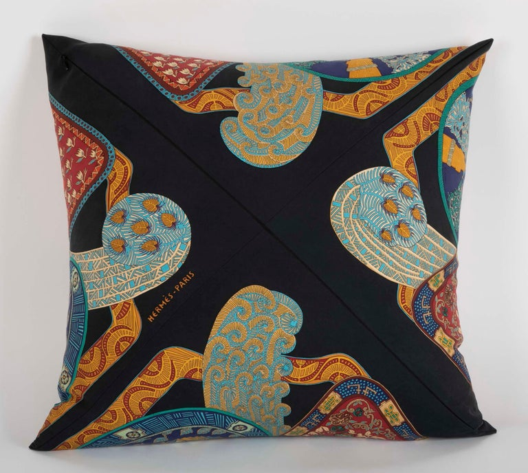Collection of Vintage Hermes Silk Pillows by Various Designers For Sale 10