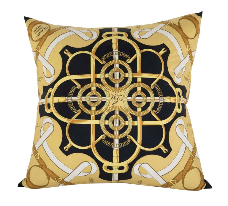 Collection of Vintage Hermes Silk Pillows by Various Designers In Good Condition For Sale In Stamford, CT
