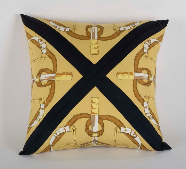 Contemporary Collection of Vintage Hermes Silk Pillows by Various Designers For Sale