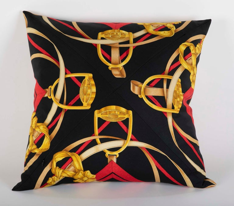 Collection of Vintage Hermes Silk Pillows by Various Designers For Sale 4