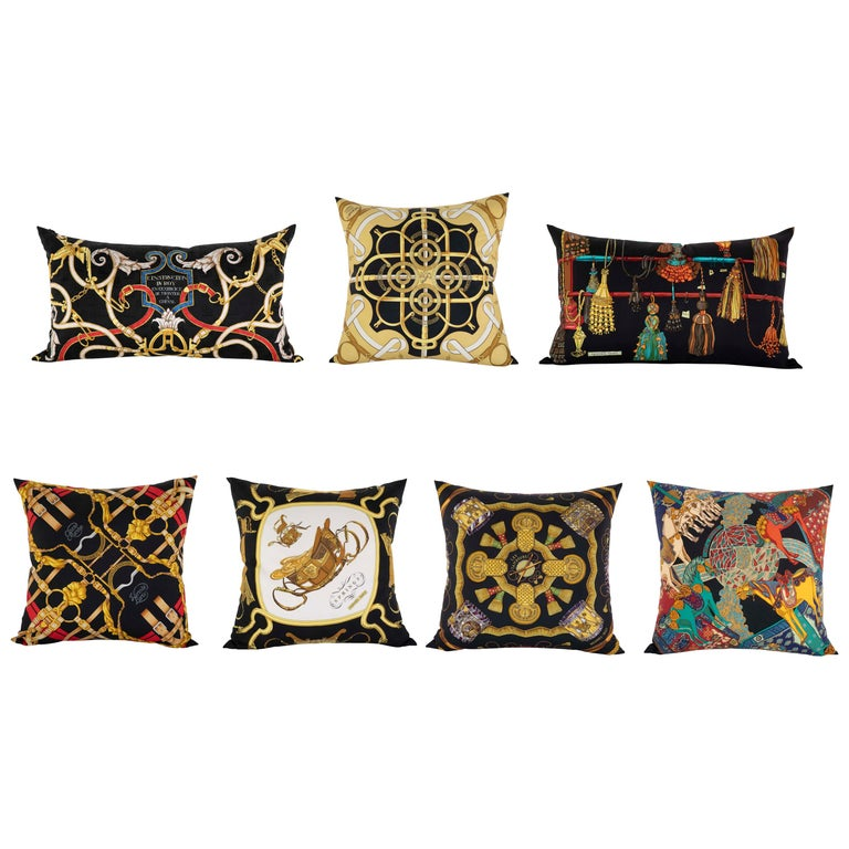 Collection of Vintage Hermes Silk Pillows by Various Designers For Sale