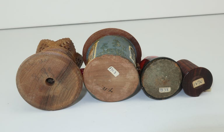 Collection of Whimsical Antique Wood Tape Measures For Sale 7
