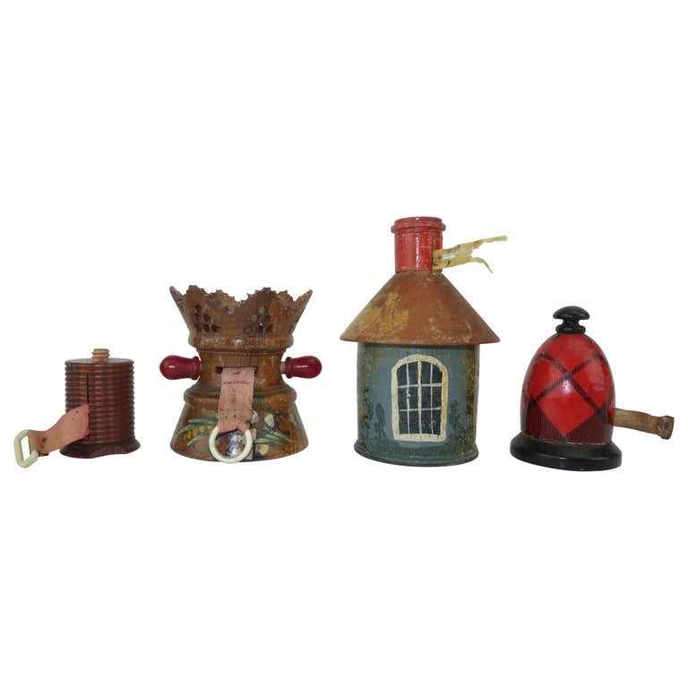 Collection of Whimsical Antique Wood Tape Measures For Sale