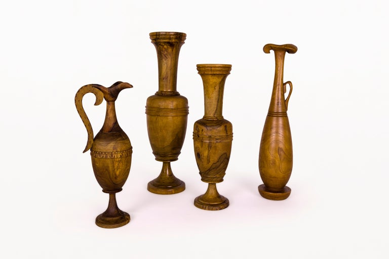 Collection of wooden Urns. Made with olive wood. Turned, sculpted wood Classic Greek designs circa 1960, Greece. Very good vintage condition.