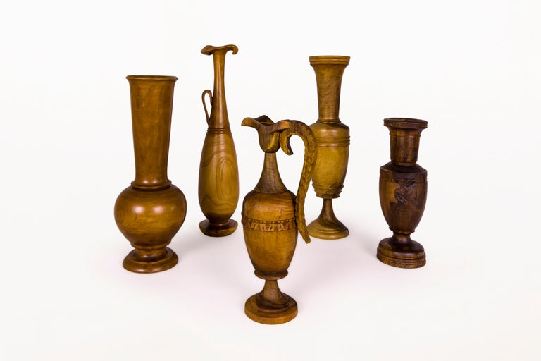 Mid-Century Modern Collection of Wooden Urns, circa 1960, Greece For Sale