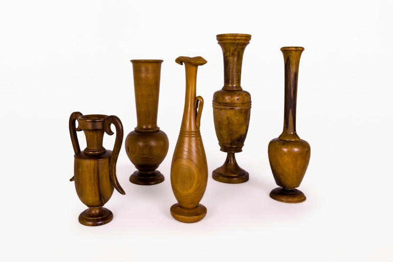Greek Collection of Wooden Urns, circa 1960, Greece For Sale