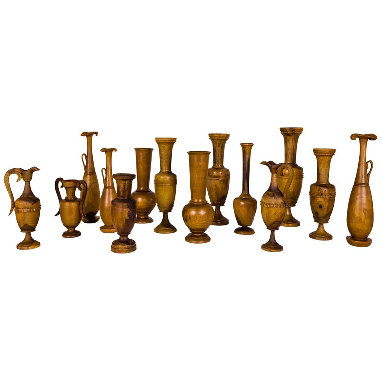 Collection of Wooden Urns, circa 1960, Greece For Sale