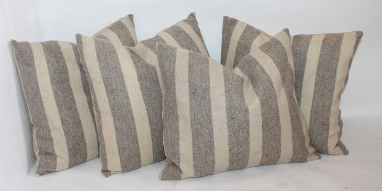 Adirondack Collection of Wool Plaid Pillows, Six Pillows Total For Sale