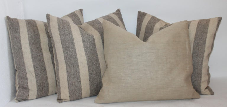 20th Century Collection of Wool Plaid Pillows, Six Pillows Total For Sale