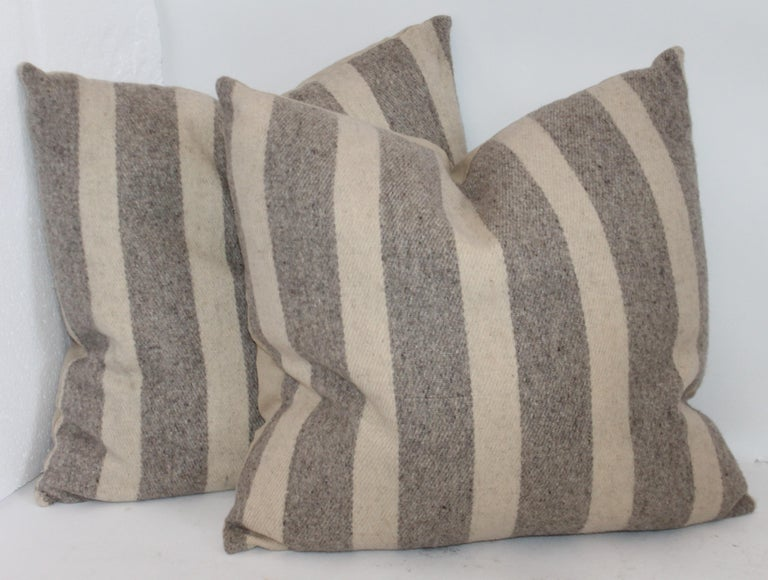 Cotton Collection of Wool Plaid Pillows, Six Pillows Total For Sale