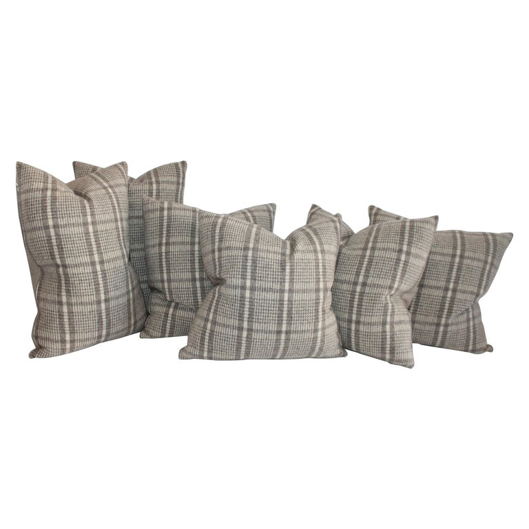 Collection of Wool Plaid Pillows, Six Pillows Total For Sale