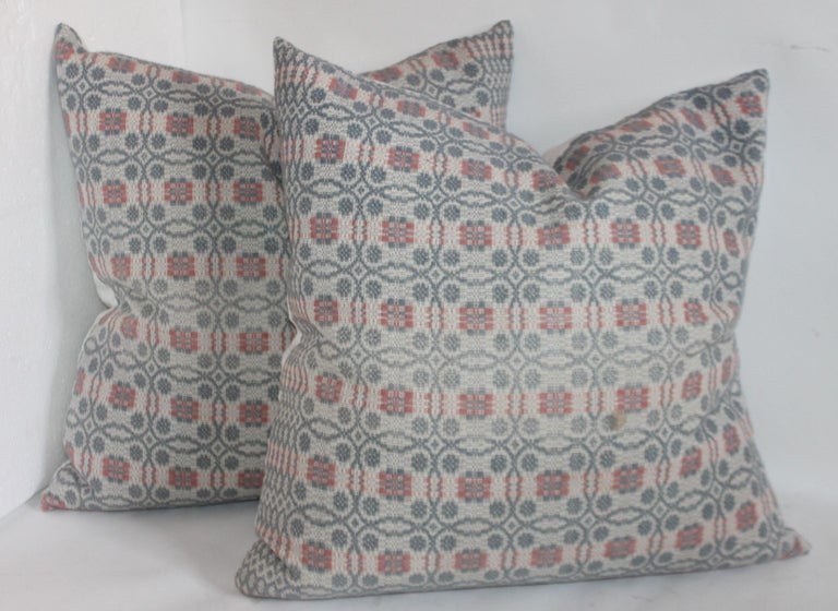 Hand-Crafted Collection of Woven Coverlet Pillows For Sale