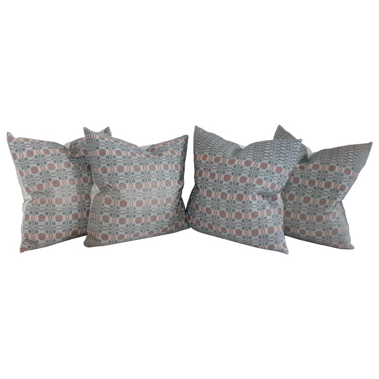 Collection of Woven Coverlet Pillows For Sale
