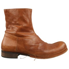 COLLECTION PRIVEE? Size 10 Tan Distressed Leather Ankle Boots