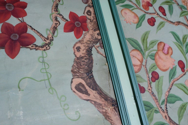 Collection, Six George III Hand Painted Pale Green Chinoiserie Wallpaper Panels For Sale 5