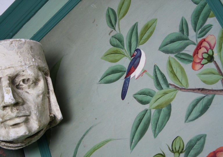 Collection, Six George III Hand Painted Pale Green Chinoiserie Wallpaper Panels For Sale 6