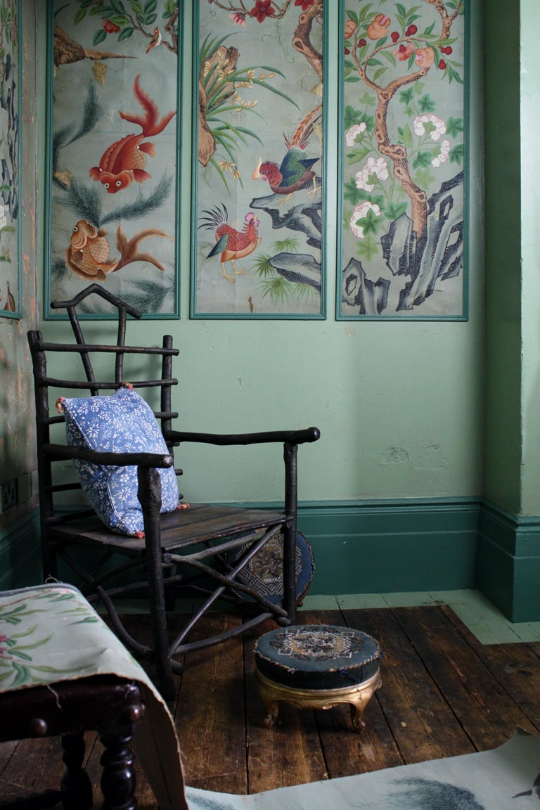 Collection, Six George III Hand Painted Pale Green Chinoiserie Wallpaper Panels For Sale 12
