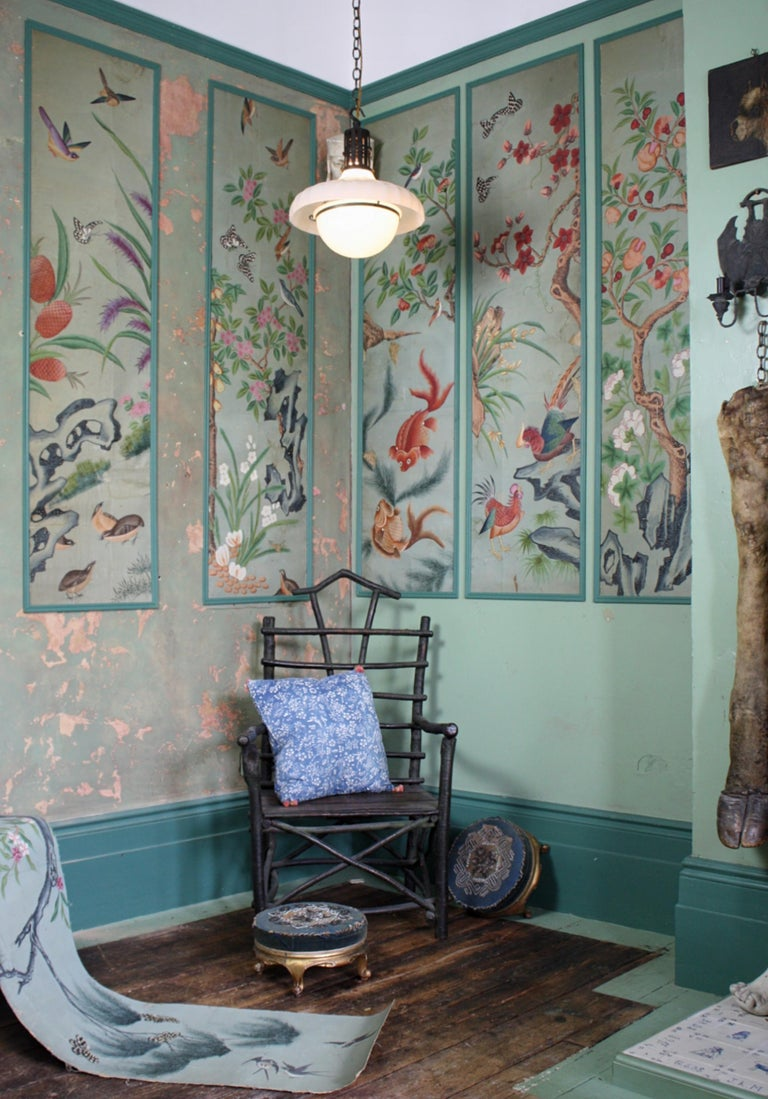 Chinese Collection, Six George III Hand Painted Pale Green Chinoiserie Wallpaper Panels For Sale