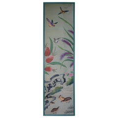 Collection, Six George III Hand Painted Pale Green Chinoiserie Wallpaper Panels