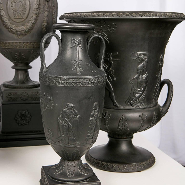 20th Century Collection Wedgwood Black Basalt Vases For Sale