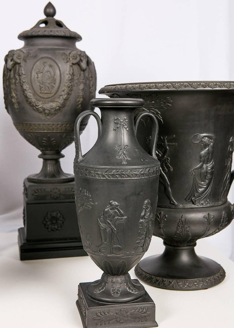 Stoneware Collection Wedgwood Black Basalt Vases For Sale